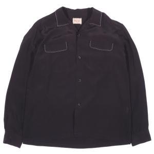 スタイル アイズ メンズ サドル ステッチ 長袖 ボウリング シャツ ブラック 黒 オープンカラー STYLE EYES SADDLE STITCH BOWLING SHIRT BLACK 送料無料 americanrushstore