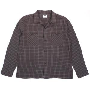 リー オープンカラーシャツ 長袖シャツ ネルシャツ チェック 開襟シャツ ブラウン LEE OPEN COLLAR SHIRT BROWN LT0610|americanrushstore