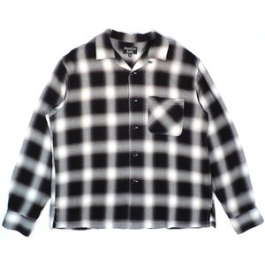 シュガーケーン ライト レーヨン オンブレー チェック 長袖 オープンカラー シャツ ブラック メンズ SUGARCANE LIGHT RAYON CHECK L/S SHIRT BLACK 送料無料 americanrushstore
