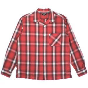 シュガーケーン ライト レーヨン オンブレー チェック 長袖 オープンカラー シャツ レッド メンズ SUGARCANE LIGHT RAYON CHECK L/S SHIRT RED 送料無料 americanrushstore