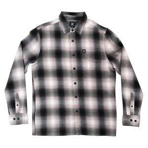 ハードラック メンズ 長袖 フランネル ネルシャツ ブラック ホワイト オンブレ シャドー チェック HARD LUCK BACA FLANNEL BLACK/WHITE americanrushstore
