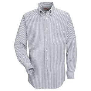 RED KAP / レッドキャップ SR70 OXFORD DRESS SHIRT B.D オックスフォード ドレスシャツ ボタンダウン GREY / WHITE STRIPE|americanrushstore
