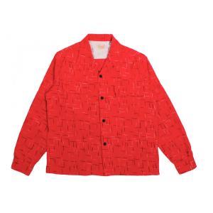 スタイルアイズ コーデュロイ スポーツシャツ レッド オープンカラー STYLE EYES NEP PRINT L/S SPORTS SHIRT RED 送料無料 americanrushstore