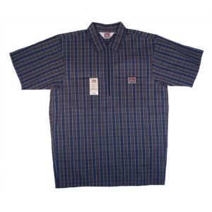 ベンデイビス ハーフジップ プルオーバー 半袖 ワークシャツ ネイビー プレイド チェック メンズ BEN DAVIS HALF ZIP S/S WORK SHIRT NAVY PLAID|americanrushstore
