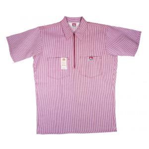 ベンデイビス ハーフジップ プルオーバー 半袖 ワークシャツ バーガンディーストライプ メンズ BEN DAVIS HALF ZIP S/S WORK SHIRT BURGUNDY STRIPE|americanrushstore