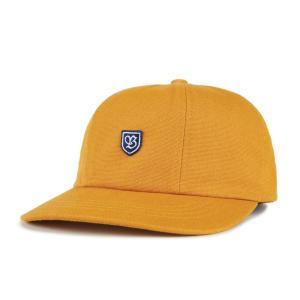 ブリクストン 6パネル キャップ ゴールド レザーバック 帽子 メンズ レディース BRIXTON B-SHIELD III CAP GOLD americanrushstore