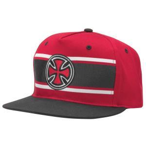 INDEPENDENT / インデペンデント STRIP CROSS SNAPBACK CAP スナップバックキャップ RED レッド|americanrushstore