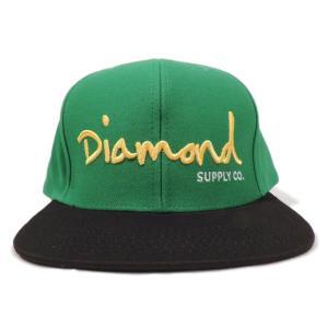 DIAMOND SUPLY CO. / ダイアモンド サプライ OG SCRIPT SNAPBACK CAP スナップバック キャップ GREEN/BLACK グリーン/ブラック americanrushstore