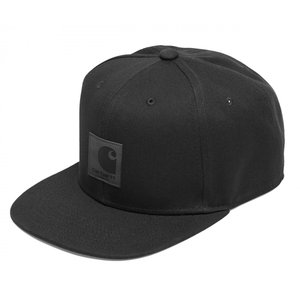 a55fcae4486 カーハート メンズ レディース ロゴ キャップ ブラック スナップバック 6パネル ベースボール キャップ 黒 帽子 CARHARTT WIP  LOGO CAP BLACK I023099