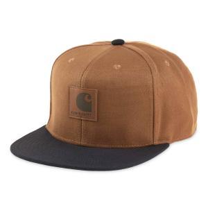 カーハート メンズ レディース ロゴ キャップ ブラウン/ブラック スナップバック キャップ 帽子 CARHARTT WIP LOGO CAP HAMILTON BROWN/BLACK I025735|americanrushstore