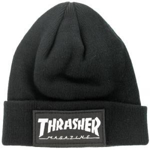 THRASHER / スラッシャー PATCH BEANIE ビーニー ニットキャップ BLACK ブラック|americanrushstore