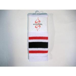 SKATER SOCKS / スケーターソックス 19インチ チューブソックス WHITE (RED/BLACK/RED)|americanrushstore