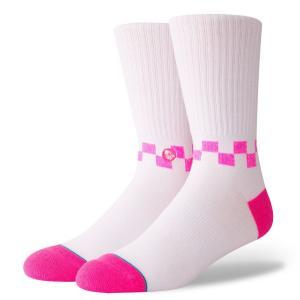 スタンス ソックス メンズ 靴下 クルーソックス ネオンピンク チェッカー ミディアム クッション STANCE SOCKS CHECKNESS SOCKS NEON PINK|americanrushstore