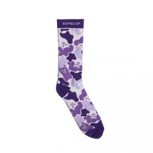 リップンディップ ソックス パープル カモフラージュ 迷彩柄 靴下 猫 RIPNDIP INVISIBLE SOCKS PURPLE|americanrushstore