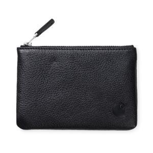カーハート 財布 シンプル ジップ ウォレット ブラック 革 メンズ カードケース コインケース 黒 CARHARTT WIP SIPMLE ZIP WALLET BLACK I026174 送料無料|americanrushstore