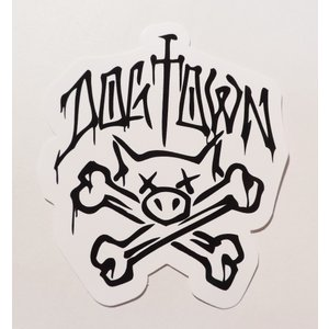 DOGTOWN / ドッグタウン PIG SKULL STICKER ピッグスカル ステッカー スケート WHITE ホワイト|americanrushstore