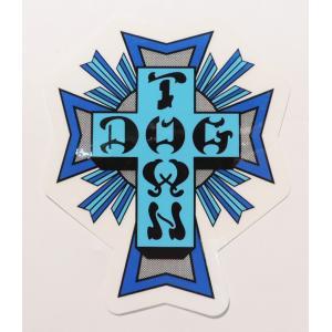 DOGTOWN / ドッグタウン CROSS LOGO STICKER クロスロゴ ステッカー スケート BLUE ブルー|americanrushstore
