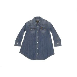 Lee / リー KIDS キッズ ガールズ ワンピース ウエスタンシャツ 子供服 146 淡色 ブルー americanrushstore