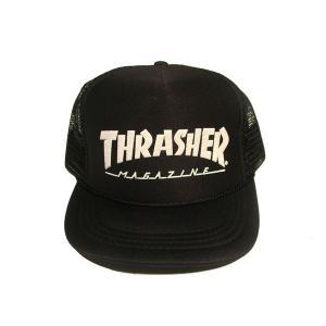 THRASHER / スラッシャー FLAKE KIDS LOGO MESH CAP BLACK キッズ メッシュキャップ|americanrushstore