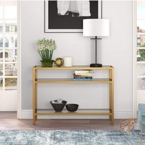 コンソールテーブル 飾り棚 3段 ガラス リビング 寝室 Gold americapro