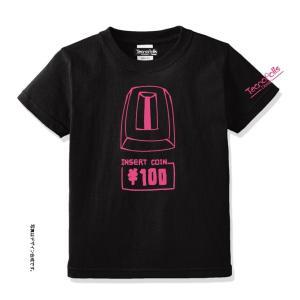オリジナルTシャツ(コイン投入口/ブラック&ピンク or グリーン) amf-ec