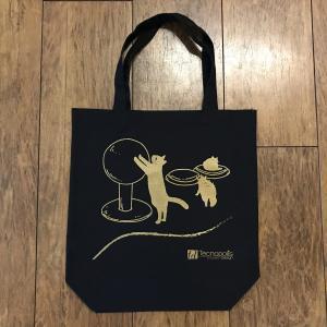 オリジナルトートバッグ(コンパネ猫)/黒 amf-ec