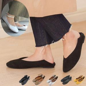 3WAYバブーシューズレディース靴 パンプス かかと 踏める 痛くない ぺたんこ バレエ フラット ...