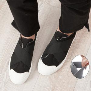 シンプルなのにオシャレ!脱ぎ履きしやすく・フィット性を高めたエラスティックバンドをクロスに施したデザ...