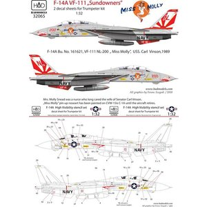 "1/32 F-14A VF-111 「サンダウナーズ」 ""ミス モーリー""w/データーステンシル (..."