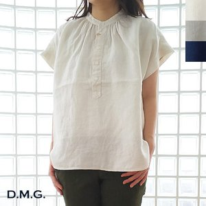 D.M.G (ドミンゴ) プレミアムリネン フレンチスリーブ スタンドカラー シャツ|amico-di-ineya