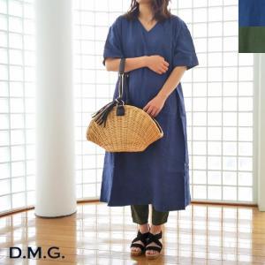 D.M.G (ドミンゴ) リネン Vネック 半袖 ワンピース amico-di-ineya