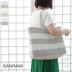 SANRAMI サンラミ ポリエチレン ボーダー かごバッグ メルカドバッグ [Mサイズ] 383017|amico-di-ineya
