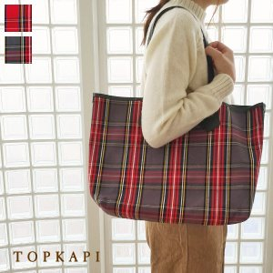 TOPKAPI トートバッグ タータンチェック柄 キャンバス レザー [Lサイズ] トプカピ 503-06-11007|amico-di-ineya