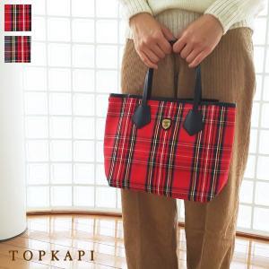TOPKAPI ミニトートバッグ タータンチェック柄 キャンバス レザー [Sサイズ] トプカピ 503-06-11008|amico-di-ineya