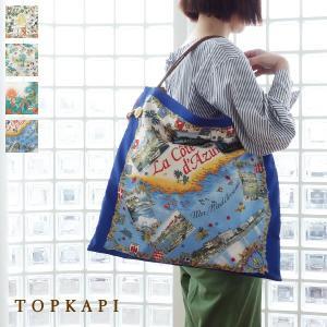 TOPKAPI トプカピ スカーフパネル柄 マイルドサテン A4 トートバッグ [Lサイズ] 503-06-81006|amico-di-ineya