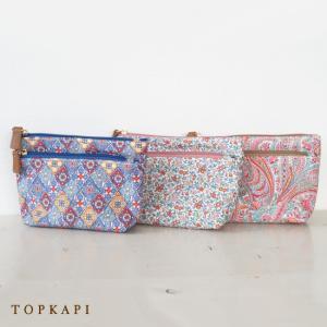 TOPKAPI (トプカピ) リバティプリント ダブルファスナー ポーチ|amico-di-ineya