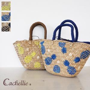 Cachellie (カシェリエ) かごバッグ パイナップル 刺繍 バンカン トートバッグ 54-4302|amico-di-ineya