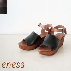 eness(エネス)バイカラーレザーウエッジソールサンダル*55T607/ 返品不可 amico-di-ineya
