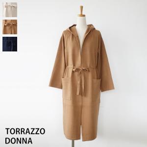 TORRAZZO DONNA ニット コーディガン フード ロング ウエストリボン カーディガン トラッゾドンナ 75-3232|amico-di-ineya