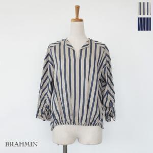 BRAHMIN (ブラーミン) ブラウス ストライプ 7分袖 キーネック B15372|amico-di-ineya