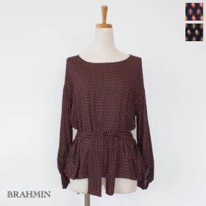 BRAHMIN (ブラーミン) ブラウス ボリュームスリーブ ウエストリボン B15403|amico-di-ineya
