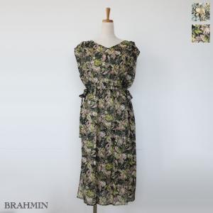 BRAHMIN (ブラーミン) フラワープリント フレンチスリーブ サイドスリット ウエストゴム ワンピース B65301|amico-di-ineya