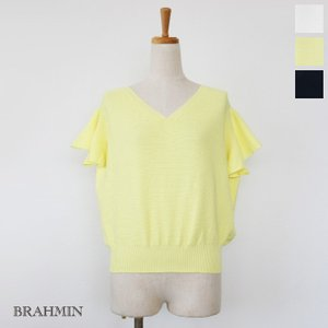 BRAHMIN (ブラーミン) Vネック ニット 袖フリル プルオーバー B95201|amico-di-ineya