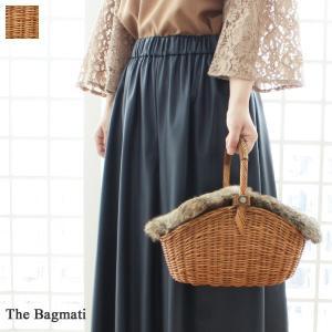 The Bagmati ザバグマティ かごバッグ ウィッカー ラビットファー蓋付き バスケット型 2WAY|amico-di-ineya