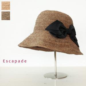 Escapade エスカペード リボン付き ラフィア ハット E-12|amico-di-ineya