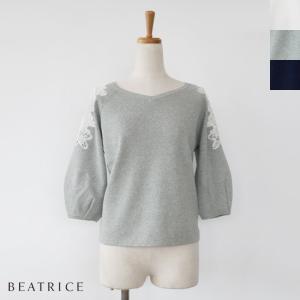 BEATRICE (ベアトリス) パフスリーブ 肩レース ニットプルオーバー|amico-di-ineya