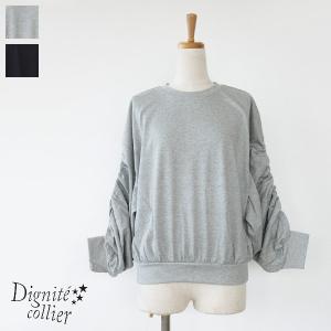 [30%OFF SALE] Dignite collier (ディニテコリエ) プルオーバー 袖シャーリング コットン KAT-803208 返品不可|amico-di-ineya