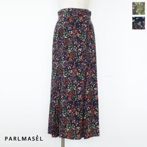 PARLMASEL (パールマシェール) フレア ロング スカート フラワープリント バックウエストゴム L-9222|amico-di-ineya