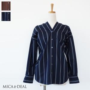 MICA&DEAL シャツ Vネック ストライプ 長袖 2WAY マイカアンドディール M18C146|amico-di-ineya