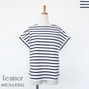Le minor MICA&DEAL (ルミノア・マイカアンドディール) ボーダー フレンチスリーブ コラボ Tシャツ コットン|amico-di-ineya